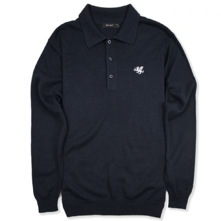 Senlak Long Sleeved Knitted Polo Shirt - Navy